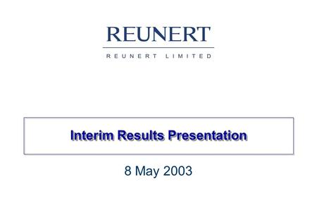 Interim Results Presentation 8 May 2003. Group structure * ATC Effective 89,5%