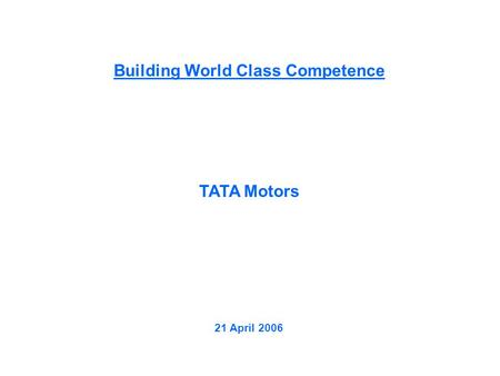 Building World <strong>Class</strong> Competence