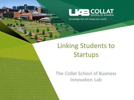 Linking Students to Startups The Collat School of Business Innovation Lab.