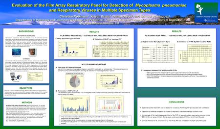Title Here Evaluation of the Film Array Respiratory Panel for Detection of Mycoplasma pneumoniae and Respiratory Viruses in Multiple Specimen Types Christine.