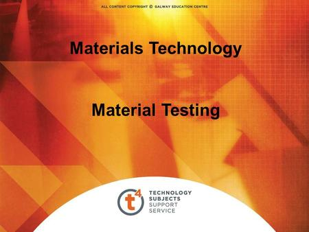 Materials Technology Material Testing. Overview – Testing Materials Hardness Testing Direct Reading Hardness Testing Machine (Vickers or Brinell) Measures.