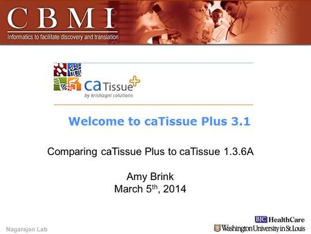 YOUR LOGO HERE YOUR LOGO HERE Amy Brink Comparing caTissue Plus to caTissue 1.3.6A Amy Brink March 5 th, 2014.