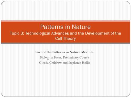 Part of the Patterns in Nature Module Biology in Focus, Preliminary Course Glenda Childrawi and Stephanie Hollis Patterns in Nature Topic 3: Technological.