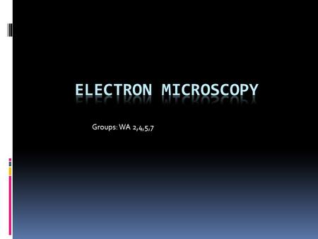 Groups: WA 2,4,5,7. History  The electron microscope was first invented by a team of German engineers headed by Max Knoll and physicist Ernst Ruska in.