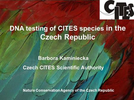 DNA testing of CITES species in the Czech Republic Barbora Kaminiecka Czech CITES Scientific Authority Nature Conservation Agency of the Czech Republic.
