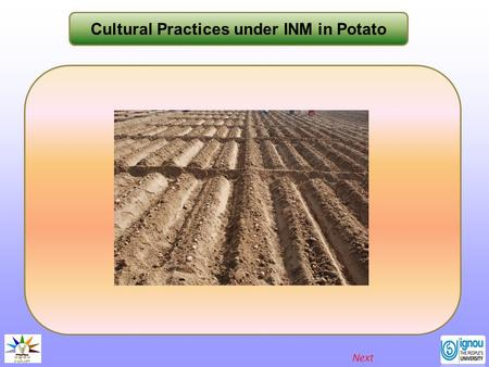 Cultural Practices under INM in Potato Next. Cultural Practices under INM in Potato Introduction Potato is an important crop in India with a harvest of.