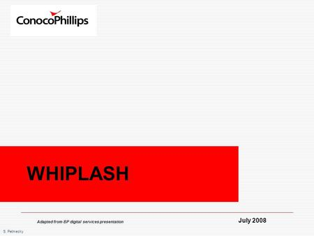 S. Petmecky WHIPLASH July 2008 Adapted from BP digital services presentation.
