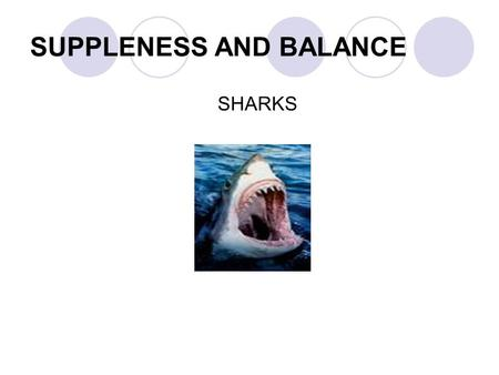 SUPPLENESS AND BALANCE SHARKS. Flexibility Flexibility is the range of movement across a joint. Most activities require flexibility. Having good flexibility.