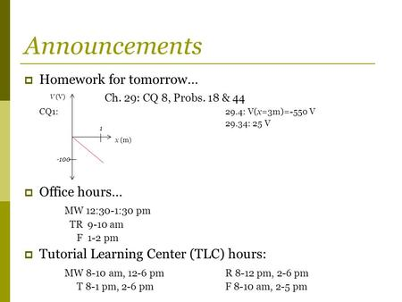 Announcements  Homework for tomorrow… Ch. 29: CQ 8, Probs. 18 & 44 CQ1:29.4: V(x=3m)=-550 V 29.34: 25 V  Office hours… MW 12:30-1:30 pm TR 9-10 am F.