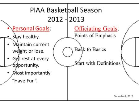 "PIAA Basketball Season 2012 - 2013 Personal Goals: Stay healthy. Maintain current weight or lose. Get rest at every opportunity. Most importantly ""Have."