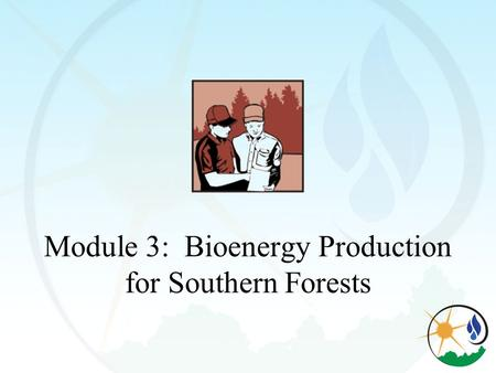 Module 3: Bioenergy Production for Southern Forests.