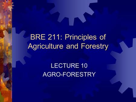 BRE 211: Principles of Agriculture and Forestry LECTURE 10 AGRO-FORESTRY.