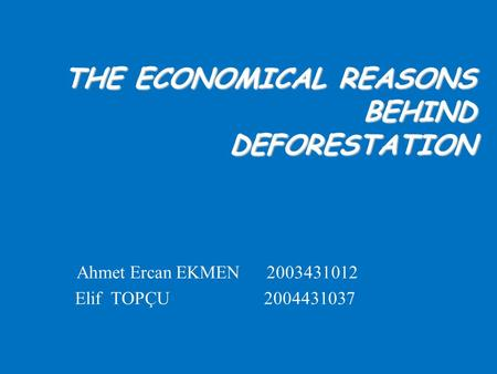 THE ECONOMICAL REASONS BEHIND DEFORESTATION Ahmet Ercan EKMEN 2003431012 Elif TOPÇU 2004431037.