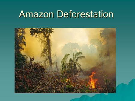 Amazon Deforestation. The Amazon Region Concern about Amazon Deforestation  Loss of biodiversity  Impact on climate –Moderating impact on climate –Carbon.