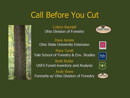 Call Before You Cut Cotton Randall Ohio Division of Forestry Dave Apsley Ohio State University Extension Mary Tyrell Yale School of Forestry & Env. Studies.