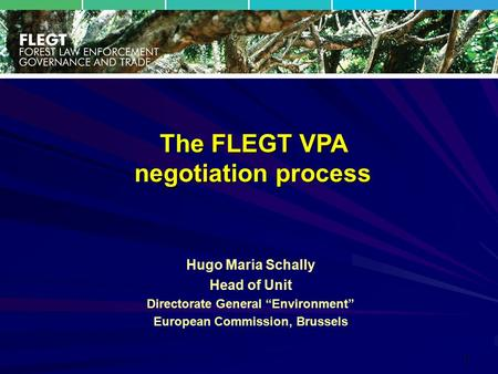"1 Hugo Maria Schally Head of Unit Directorate General ""Environment"" European Commission, Brussels The FLEGT VPA negotiation process."
