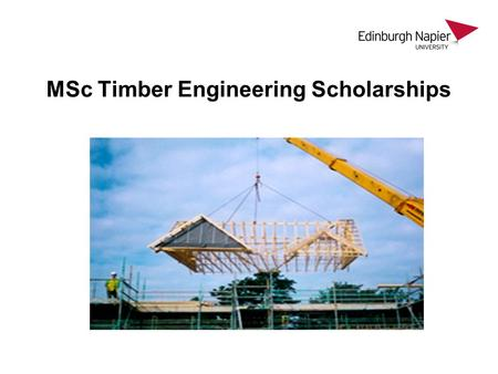 "MSc Timber Engineering Scholarships. ""It's not all about Steel, Glass and Concrete….."""