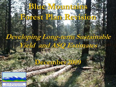 Blue Mountains Forest Plan Revision Developing Long-term Sustainable Yield and ASQ Estimates December 2009 1.