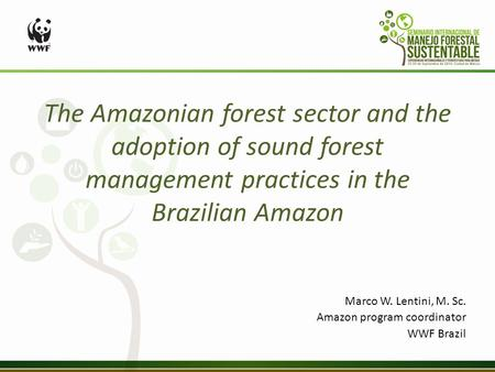 The Amazonian forest sector and the adoption of sound forest management practices in the Brazilian Amazon Marco W. Lentini, M. Sc. Amazon program coordinator.