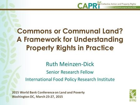 Commons or Communal Land? A Framework for Understanding Property Rights in Practice Ruth Meinzen-Dick Senior Research Fellow International Food Policy.