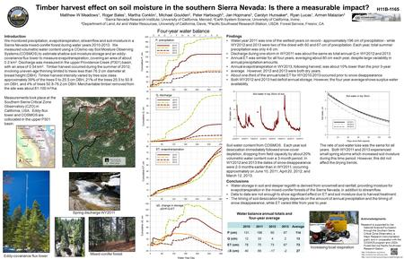 Timber harvest effect on soil moisture in the southern Sierra Nevada: Is there a measurable impact? Matthew W Meadows 1, Roger Bales 1, Martha Conklin.