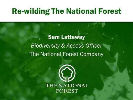 Re-wilding The National Forest Sam Lattaway Biodiversity & Access Officer The National Forest Company.