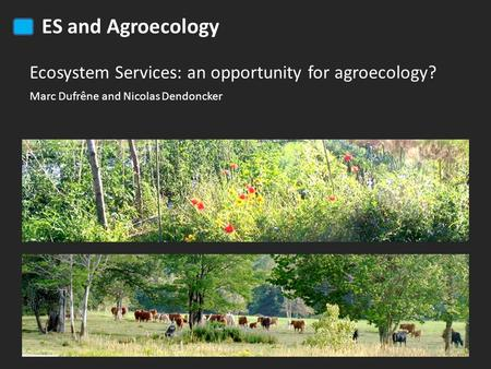 ES and Agroecology Ecosystem Services: an opportunity for agroecology? Marc Dufrêne and Nicolas Dendoncker.