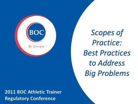 Scopes of Practice: Best Practices to Address Big Problems 2011 BOC Athletic Trainer Regulatory Conference.
