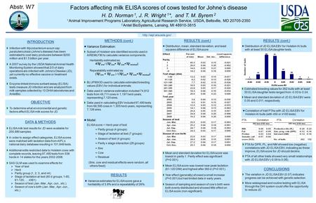 Factors affecting milk ELISA scores of cows tested for Johne's disease H. D. Norman 1, J. R. Wright 1 *, and T. M. Byrem 2 1 Animal Improvement Programs.