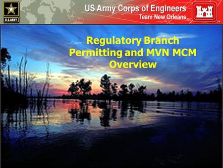 Permitting and MVN MCM Overview