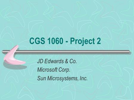 CGS 1060 - Project 2 JD Edwards & Co. Microsoft Corp. Sun Microsystems, Inc.