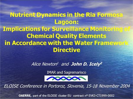Nutrient Dynamics in the Ria Formosa Lagoon: Implications for Surveillance Monitoring of Chemical Quality Elements in Accordance with the Water Framework.