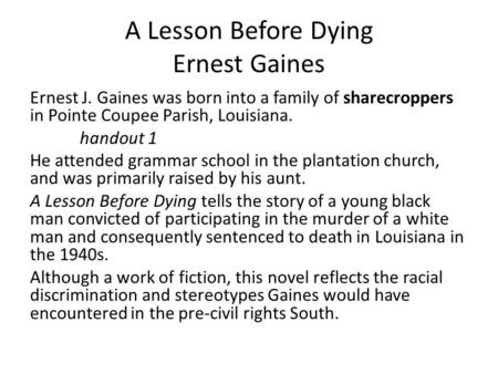 Ernest j gaines research paper