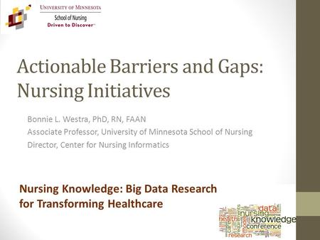 Actionable Barriers and Gaps: Nursing Initiatives Bonnie L. Westra, PhD, RN, FAAN Associate Professor, University of Minnesota School of Nursing Director,