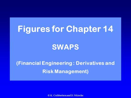 © K. Cuthbertson and D. Nitzsche Figures for Chapter 14 SWAPS (Financial Engineering : Derivatives and Risk Management)