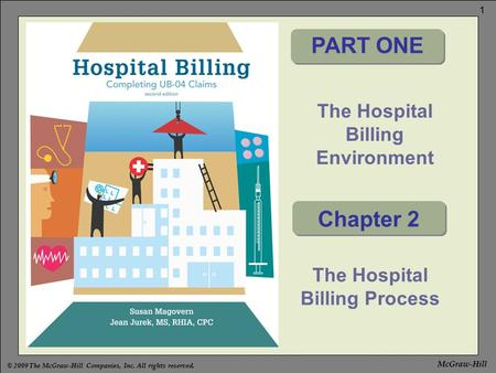 © 2009 The McGraw-Hill Companies, Inc. All rights reserved. 1 McGraw-Hill Insert Cover Here The Hospital Billing Environment PART ONE Chapter 2 The Hospital.