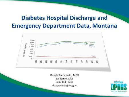 Diabetes Hospital Discharge and Emergency Department Data, Montana Dorota Carpenedo, MPH Epidemiologist 406-444-0653
