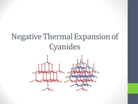 Negative Thermal Expansion of Cyanides. Thermal expansion Thermal Expansion is the change in volume of a material when heated. Generally, materials increase.