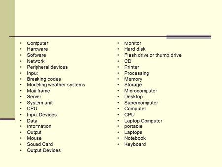 Computer Hardware Software Network Peripheral devices Input Breaking codes Modeling weather systems Mainframe Server System unit CPU Input Devices Data.