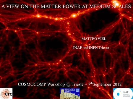 1 A VIEW ON THE MATTER POWER AT MEDIUM SCALES MATTEO VIEL INAF and INFN Trieste COSMOCOMP Trieste – 7 th September 2012.