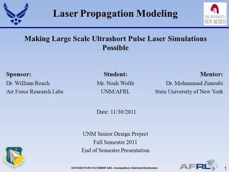 1 DISTRIBUTION STATEMENT XXX– Unclassified, Unlimited Distribution Laser Propagation Modeling Making Large Scale Ultrashort Pulse Laser Simulations Possible.