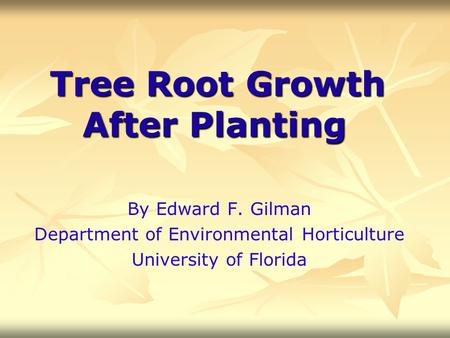Tree Root Growth After Planting By Edward F. Gilman Department of Environmental Horticulture University of Florida.