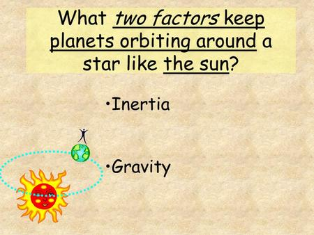 What two factors keep planets orbiting around a star like the sun? Inertia Gravity.
