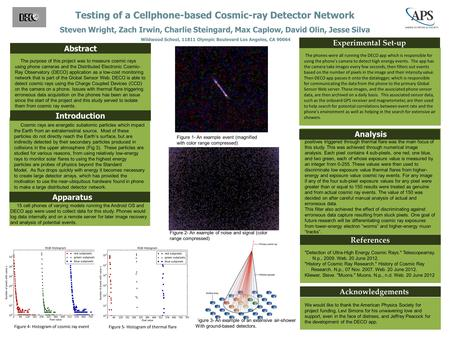 Testing of a Cellphone-based Cosmic-ray Detector Network Steven Wright, Zach Irwin, Charlie Steingard, Max Caplow, David Olin, Jesse Silva Wildwood School,