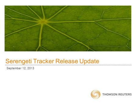 Serengeti Tracker Release Update September 12, 2013.