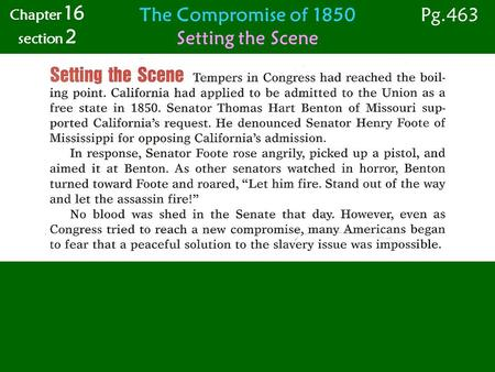 The Compromise of 1850 Setting the Scene