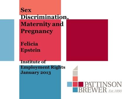 Sex Discrimination, Maternity and Pregnancy Felicia Epstein Institute of Employment Rights January 2013.