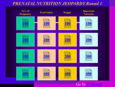100 200 300 400 100 200 300 400 100 200 300 400 100 200 300 400 No's of Pregnancy Food Safety PRENATAL NUTRITION JEOPARDY Round 1 Weight Important Nutrients.