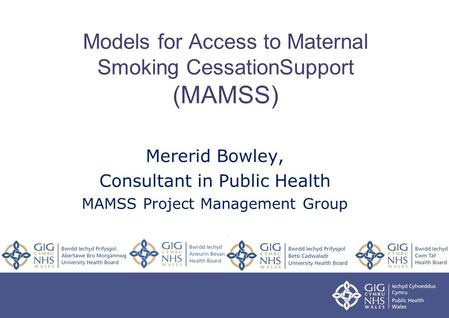 Models for Access to Maternal Smoking CessationSupport (MAMSS) Mererid Bowley, Consultant in Public Health MAMSS Project Management Group.