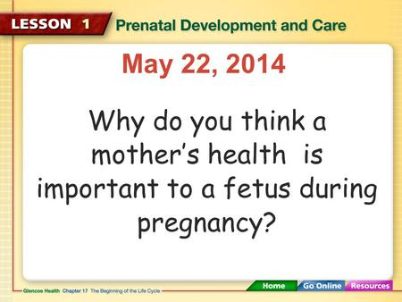 May 22, 2014 Why do you think a mother's health is important to a fetus during pregnancy?